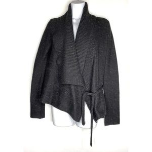 French Connection Black Wool Draped Tie Cardigan
